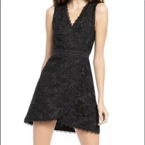 Alice + Olivia Lennon Lace Mini Dress Black Sz 14